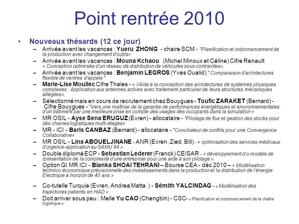 Point rentrée 2010 Nouveaux thésards (12 ce jour) –Arrivée avant les vacances : Yueru ZHONG - chaire SCM -