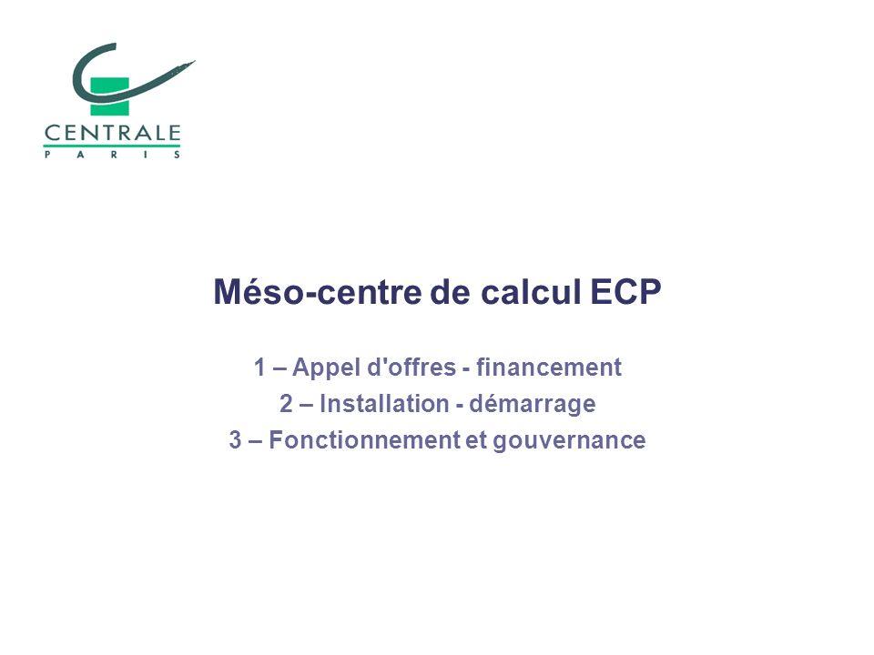 Méso-centre de calcul ECP 1 – Appel d'offres - financement 2 – Installation - démarrage 3 – Fonctionnement et gouvernance