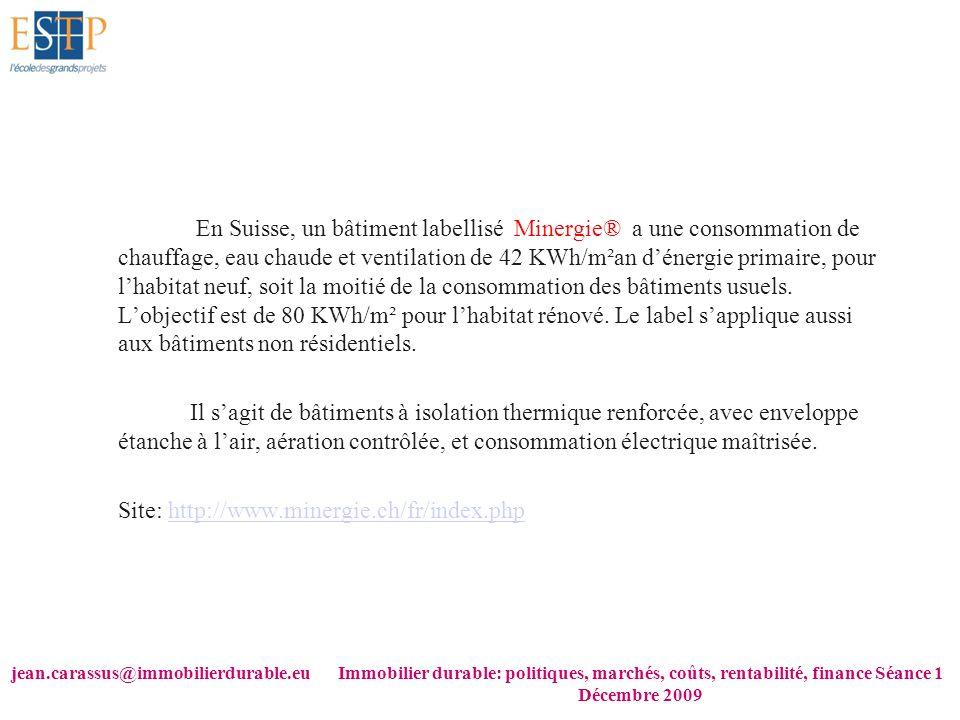 jean.carassus@immobilierdurable.euImmobilier durable: politiques, marchés, coûts, rentabilité, finance Séance 1 Décembre 2009 En Suisse, un bâtiment l