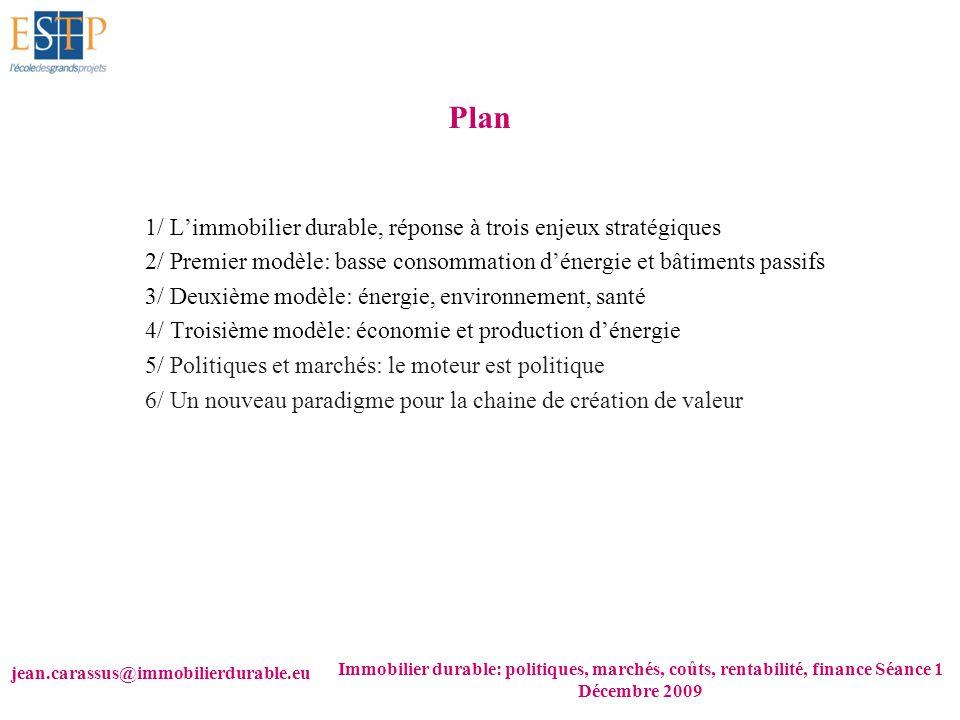 jean.carassus@immobilierdurable.eu Immobilier durable: politiques, marchés, coûts, rentabilité, finance Séance 1 Décembre 2009 Plan 1/ Limmobilier dur