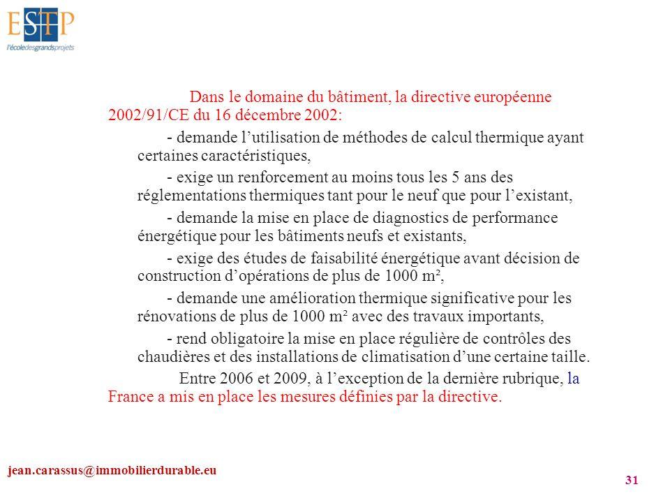 jean.carassus@immobilierdurable.eu 31 Dans le domaine du bâtiment, la directive européenne 2002/91/CE du 16 décembre 2002: - demande lutilisation de m
