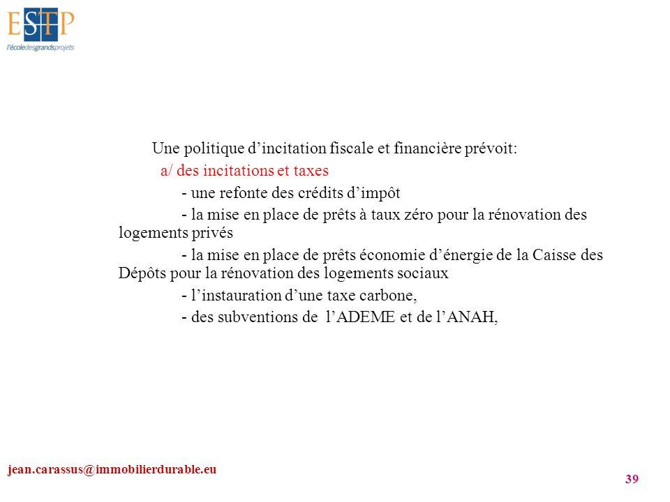jean.carassus@immobilierdurable.eu 39 Une politique dincitation fiscale et financière prévoit: a/ des incitations et taxes - une refonte des crédits d
