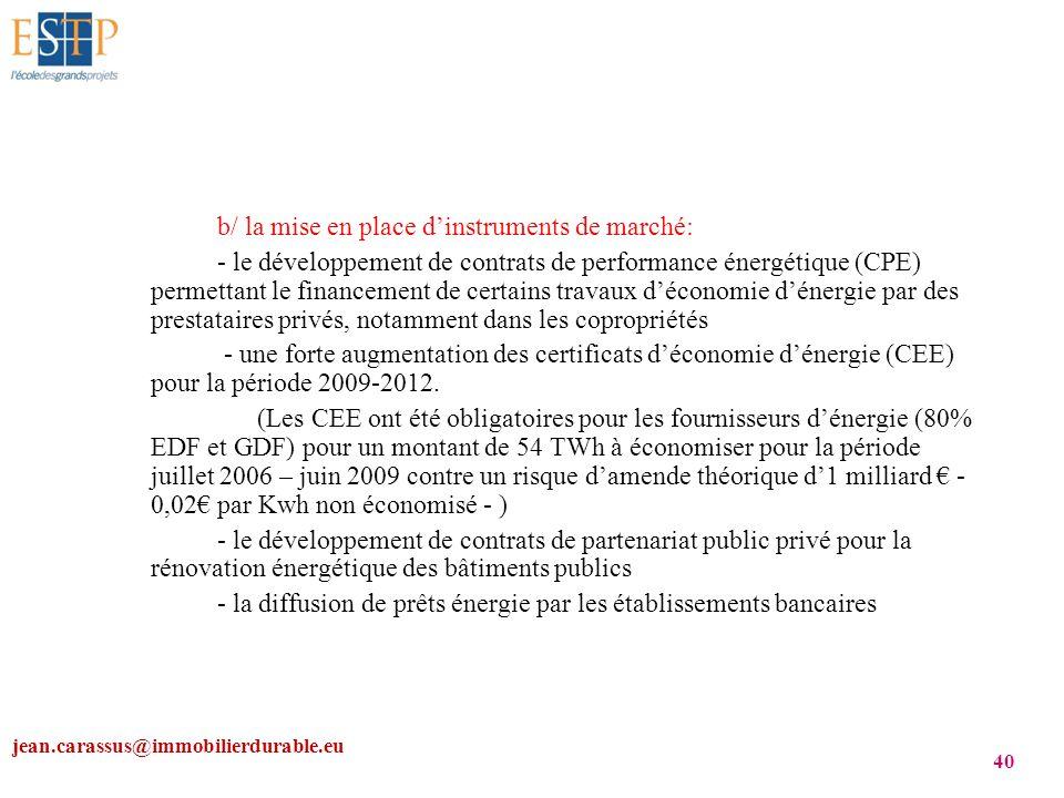jean.carassus@immobilierdurable.eu 40 b/ la mise en place dinstruments de marché: - le développement de contrats de performance énergétique (CPE) perm