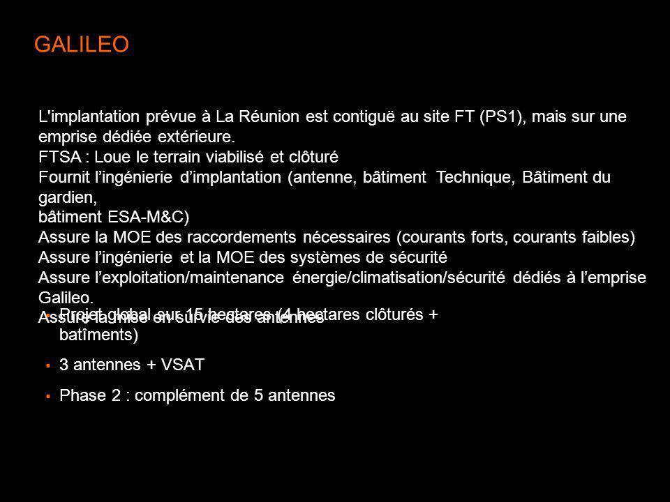 GALILEO Projet global sur 15 hectares (4 hectares clôturés + batîments) 3 antennes + VSAT Phase 2 : complément de 5 antennes L'implantation prévue à L