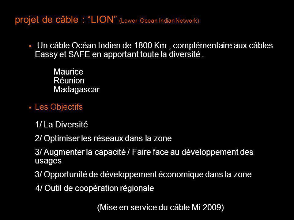 projet de câble : LION (Lower Ocean Indian Network) Un câble Océan Indien de 1800 Km, complémentaire aux câbles Eassy et SAFE en apportant toute la di