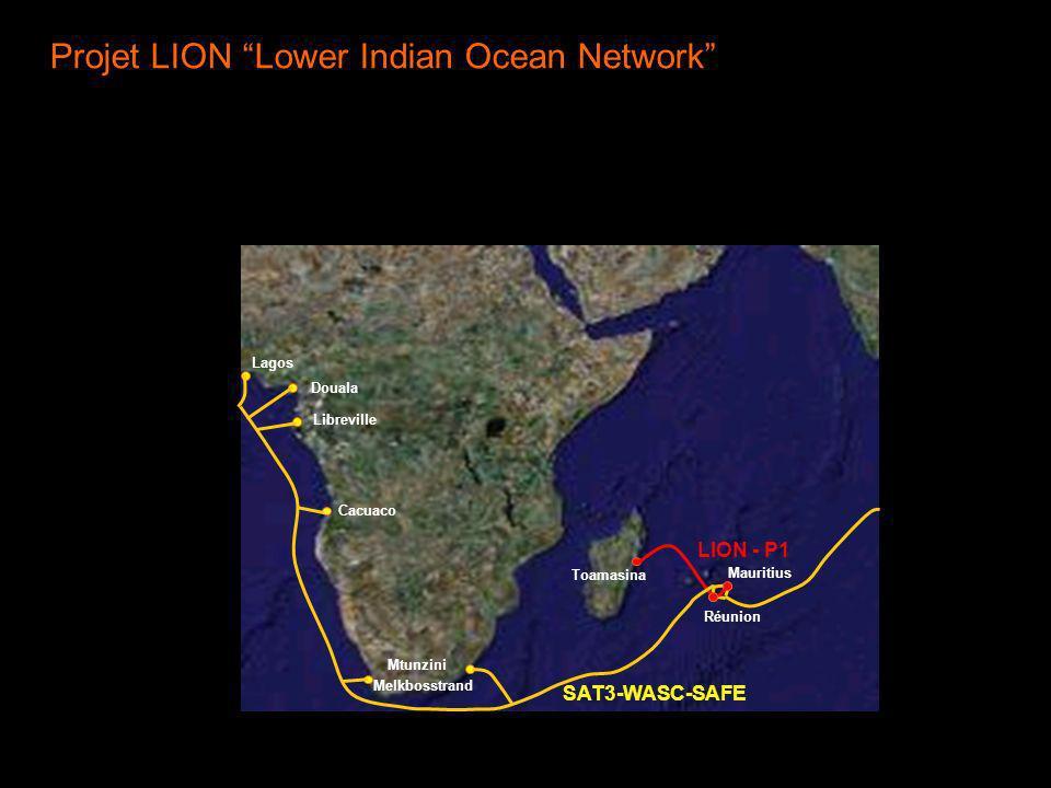 Projet LION Lower Indian Ocean Network Réunion Mauritius Mtunzini Toamasina LION - P1 SAT3-WASC-SAFE Melkbosstrand Cacuaco Libreville Douala Lagos