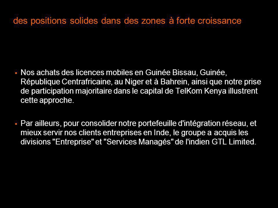 Nos achats des licences mobiles en Guinée Bissau, Guinée, République Centrafricaine, au Niger et à Bahrein, ainsi que notre prise de participation maj