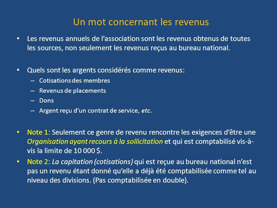 Un mot concernant les revenus Les revenus annuels de lassociation sont les revenus obtenus de toutes les sources, non seulement les revenus reçus au bureau national.