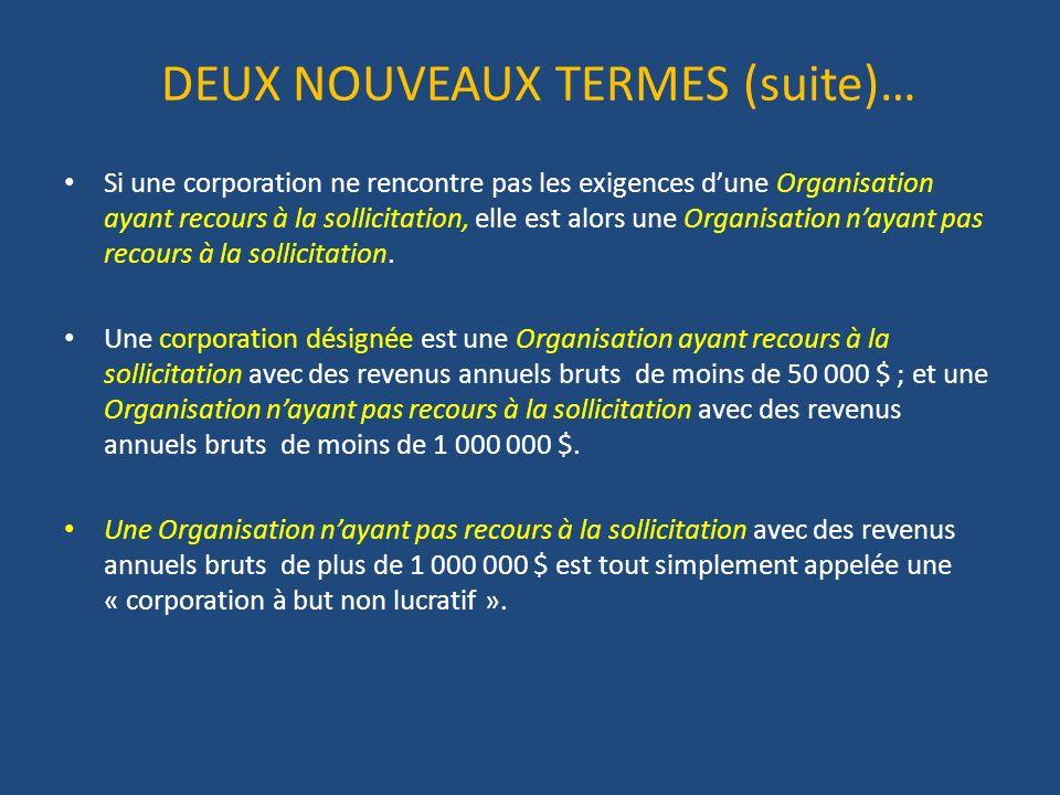 DEUX NOUVEAUX TERMES (suite)… Si une corporation ne rencontre pas les exigences dune Organisation ayant recours à la sollicitation, elle est alors une Organisation nayant pas recours à la sollicitation.