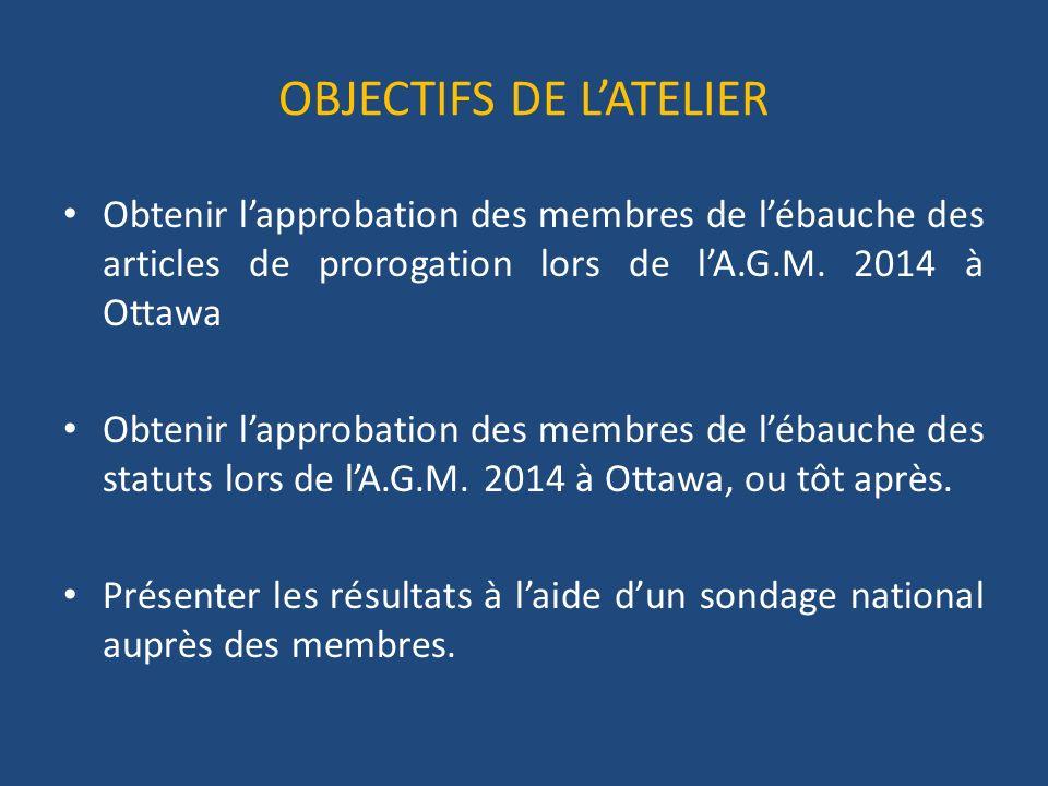 OBJECTIFS DE LATELIER Obtenir lapprobation des membres de lébauche des articles de prorogation lors de lA.G.M.