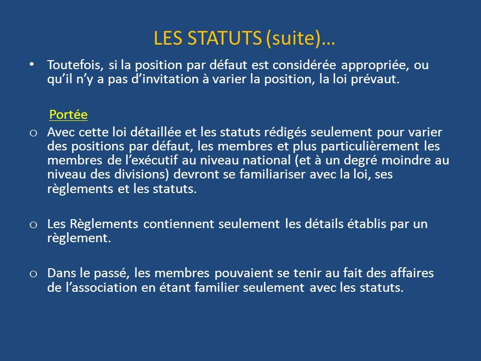 LES STATUTS (suite)… Toutefois, si la position par défaut est considérée appropriée, ou quil ny a pas dinvitation à varier la position, la loi prévaut.
