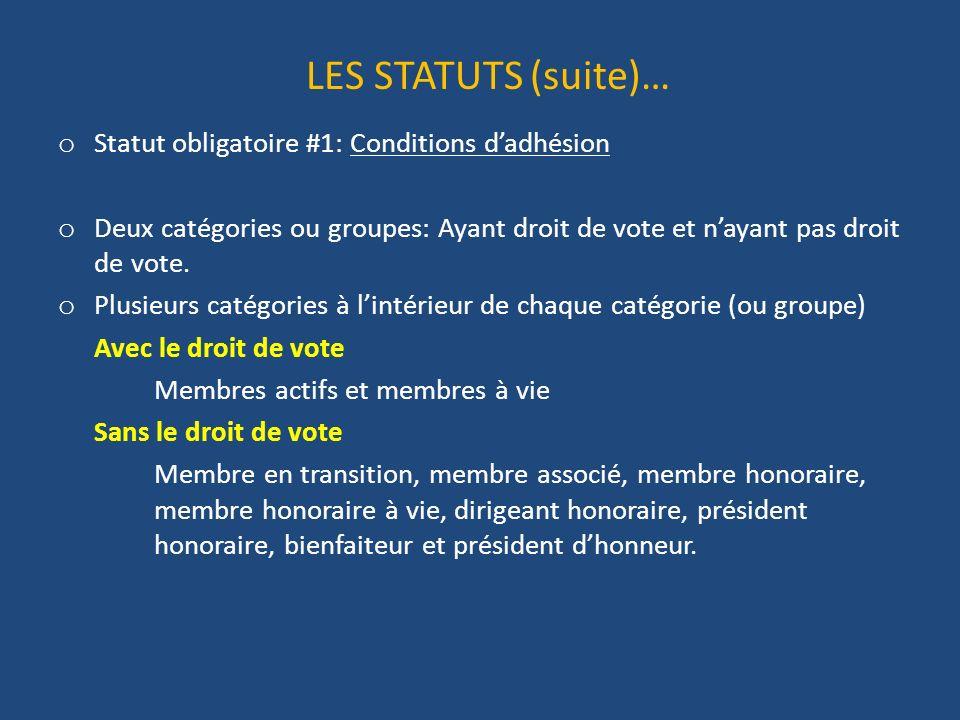LES STATUTS (suite)… o Statut obligatoire #1: Conditions dadhésion o Deux catégories ou groupes: Ayant droit de vote et nayant pas droit de vote.