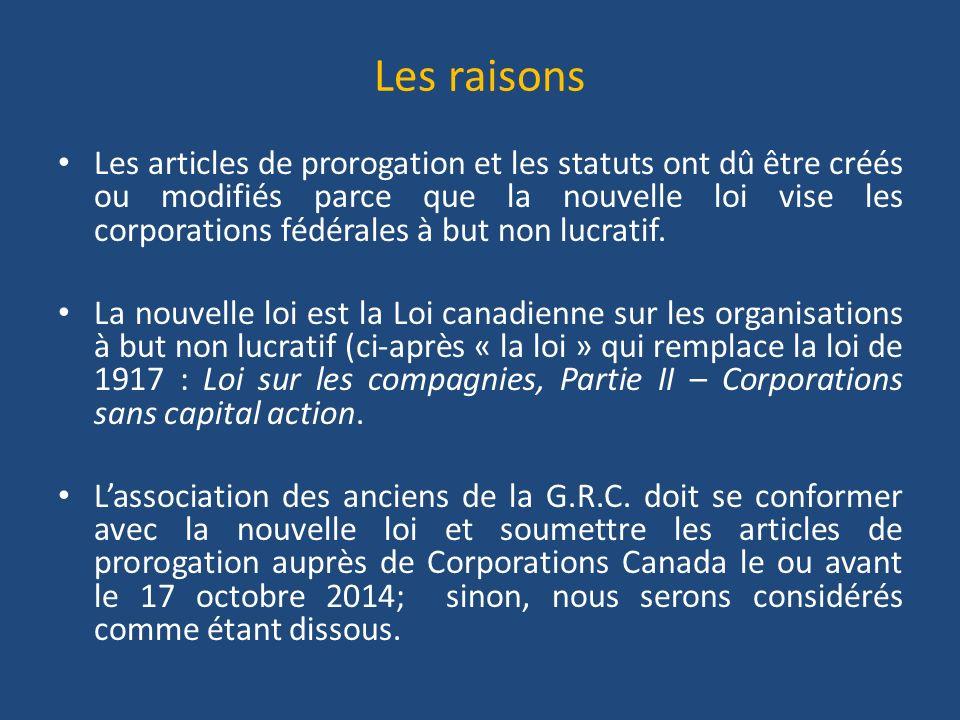 Les raisons Les articles de prorogation et les statuts ont dû être créés ou modifiés parce que la nouvelle loi vise les corporations fédérales à but non lucratif.
