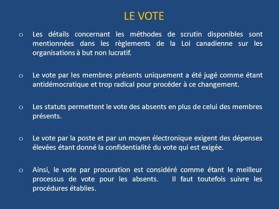 LE VOTE o Les détails concernant les méthodes de scrutin disponibles sont mentionnées dans les règlements de la Loi canadienne sur les organisations à but non lucratif.