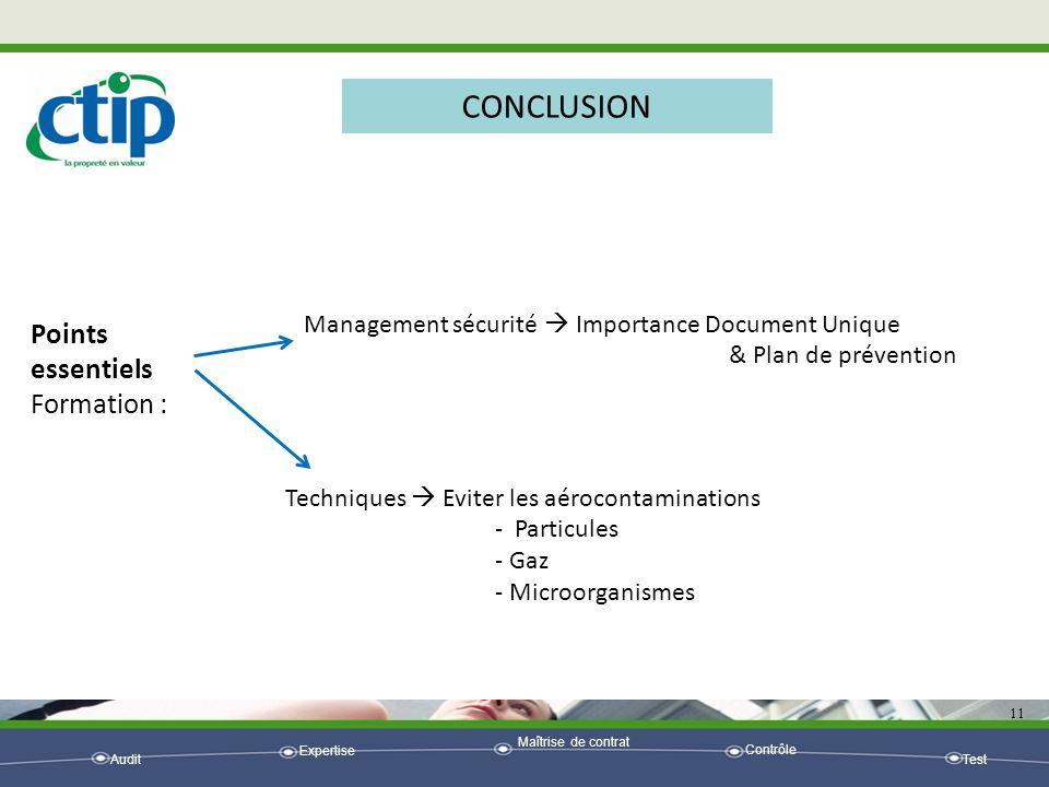 Audit Expertise Maîtrise de contrat Contrôle Test 11 CONCLUSION Points essentiels Formation : Management sécurité Importance Document Unique & Plan de