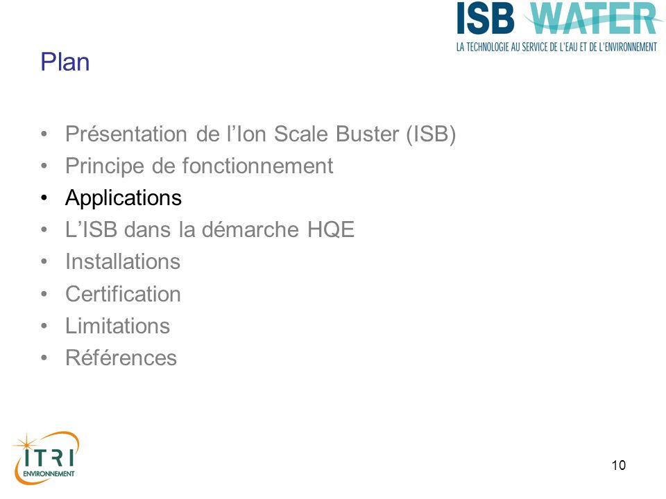 10 Plan Présentation de lIon Scale Buster (ISB) Principe de fonctionnement Applications LISB dans la démarche HQE Installations Certification Limitati