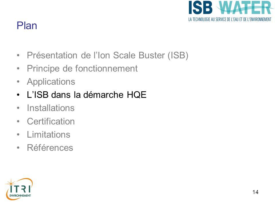 14 Plan Présentation de lIon Scale Buster (ISB) Principe de fonctionnement Applications LISB dans la démarche HQE Installations Certification Limitations Références