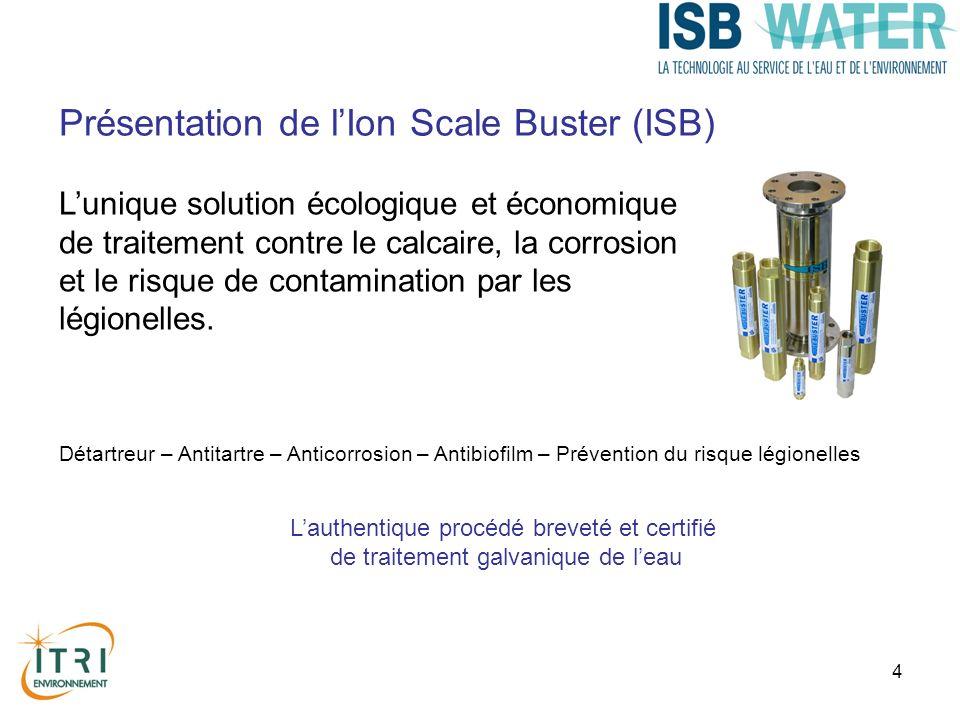 5 Lutte contre lentartrage, la corrosion et les légionelles Sans impact sur la potabilité certifié ACS Installation simple et rapide Sans produit chimique Sans maintenance Assainissement des réseaux existants Optimise et protège les filtrations Allongement de la durée de vie des canalisations et des équipements Durée de vie est denviron 10 ans (Conforme à la Circulaire DGS/VS 4 n° 98-771 du 31 décembre 1998) Présentation de lIon Scale Buster (ISB)
