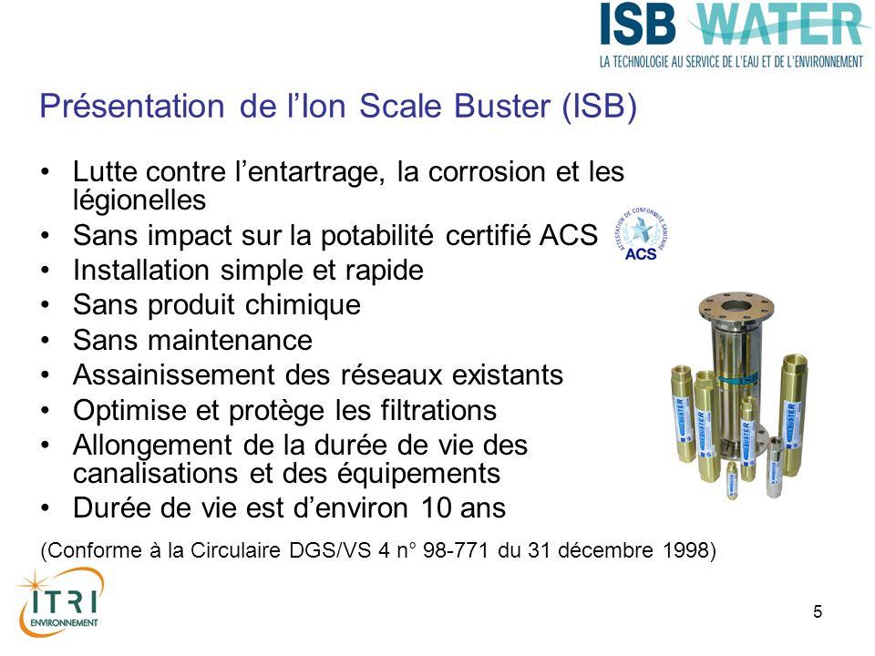 5 Lutte contre lentartrage, la corrosion et les légionelles Sans impact sur la potabilité certifié ACS Installation simple et rapide Sans produit chim