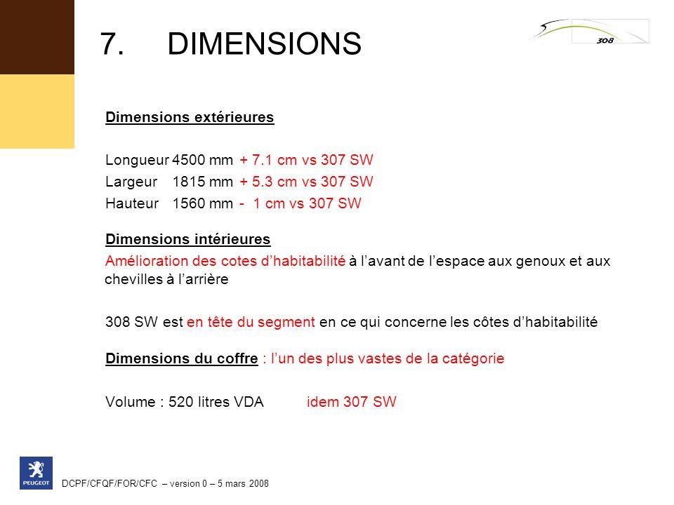 DCPF/CFQF/FOR/CFC – version 0 – 5 mars 2008 Dimensions extérieures Longueur4500 mm+ 7.1 cm vs 307 SW Largeur1815 mm+ 5.3 cm vs 307 SW Hauteur1560 mm-
