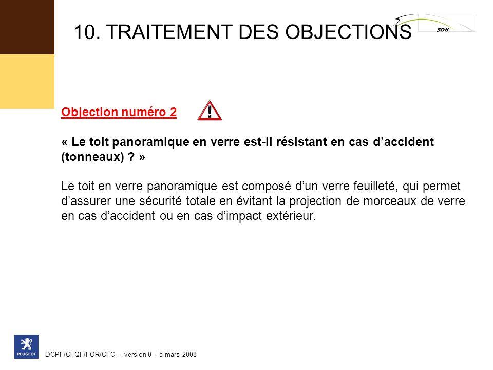 DCPF/CFQF/FOR/CFC – version 0 – 5 mars 2008 Objection numéro 2 « Le toit panoramique en verre est-il résistant en cas daccident (tonneaux) ? » Le toit