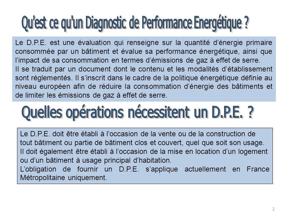 2 Le D.P.E. est une évaluation qui renseigne sur la quantité dénergie primaire consommée par un bâtiment et évalue sa performance énergétique, ainsi q