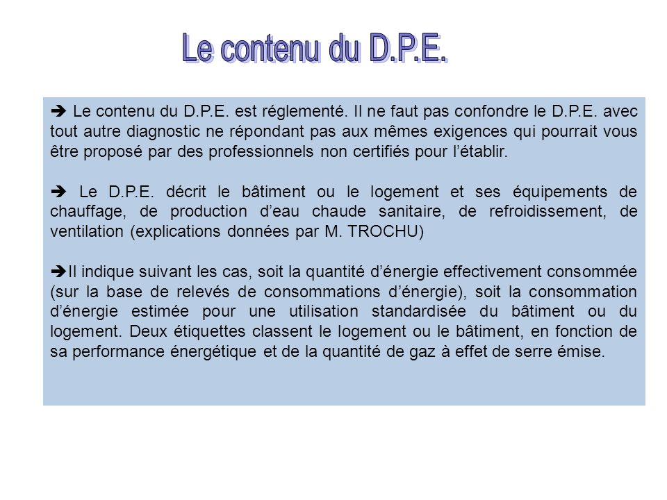 Le contenu du D.P.E. est réglementé. Il ne faut pas confondre le D.P.E. avec tout autre diagnostic ne répondant pas aux mêmes exigences qui pourrait v