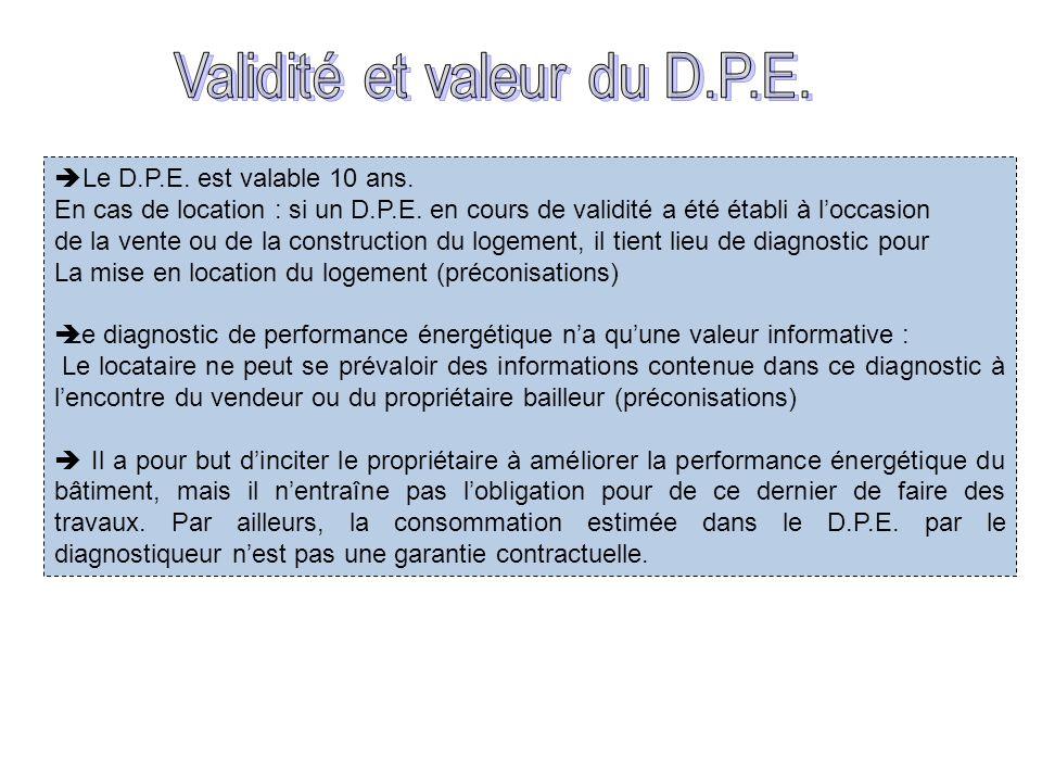 Le D.P.E. est valable 10 ans. En cas de location : si un D.P.E. en cours de validité a été établi à loccasion de la vente ou de la construction du log