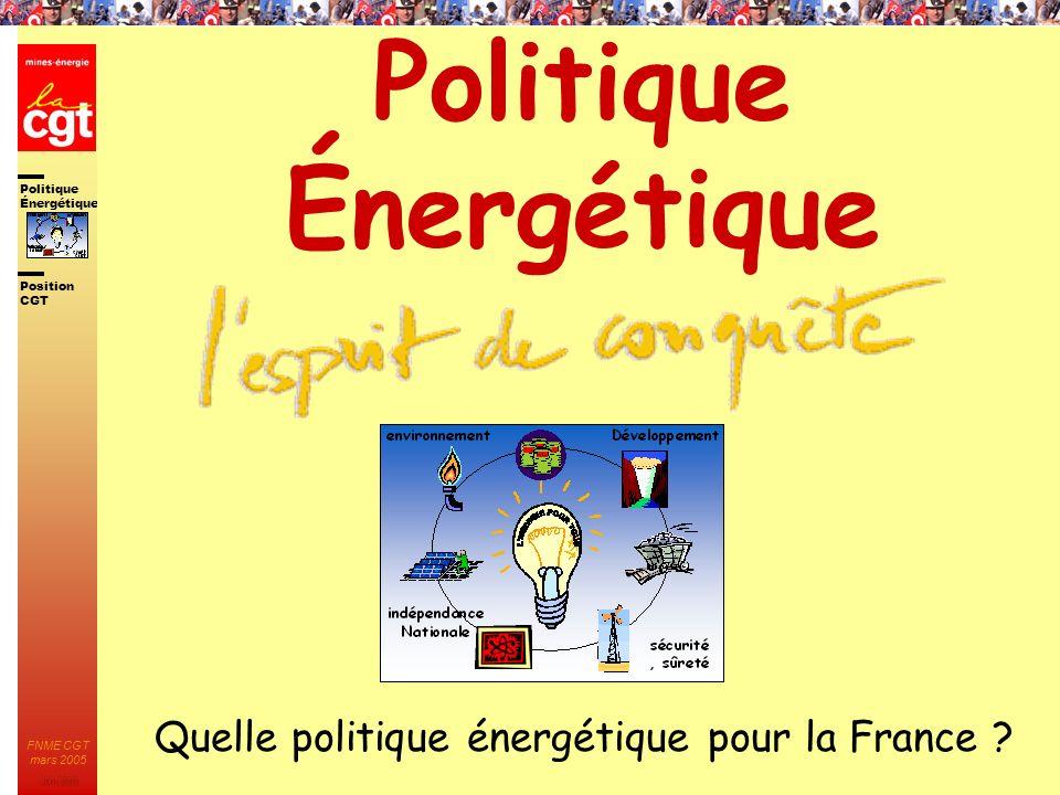 Politique Énergétique JMK 2003 Position CGT FNME CGT mars 2005 32 La place incontournable du nucléaire Le bilan prévisionnel de léquilibre production / consommation pour la période 2006- 2015 du RTE confirme quil faut lancer la construction de nouveaux moyens de production dès à présent.