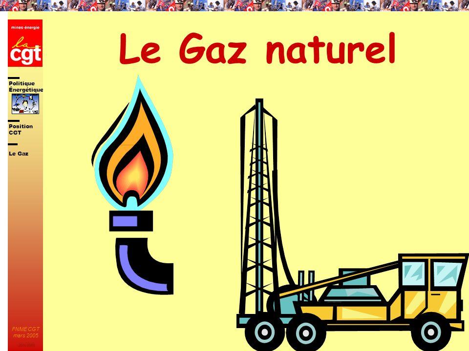 Politique Énergétique JMK 2003 Position CGT FNME CGT mars 2005 24 Le Gaz naturel Le Gaz