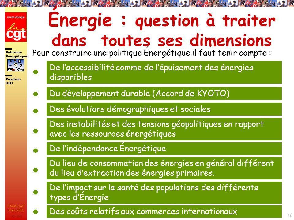 Politique Énergétique JMK 2003 Position CGT FNME CGT mars 2005 3 Énergie : question à traiter dans toutes ses dimensions Pour construire une politique