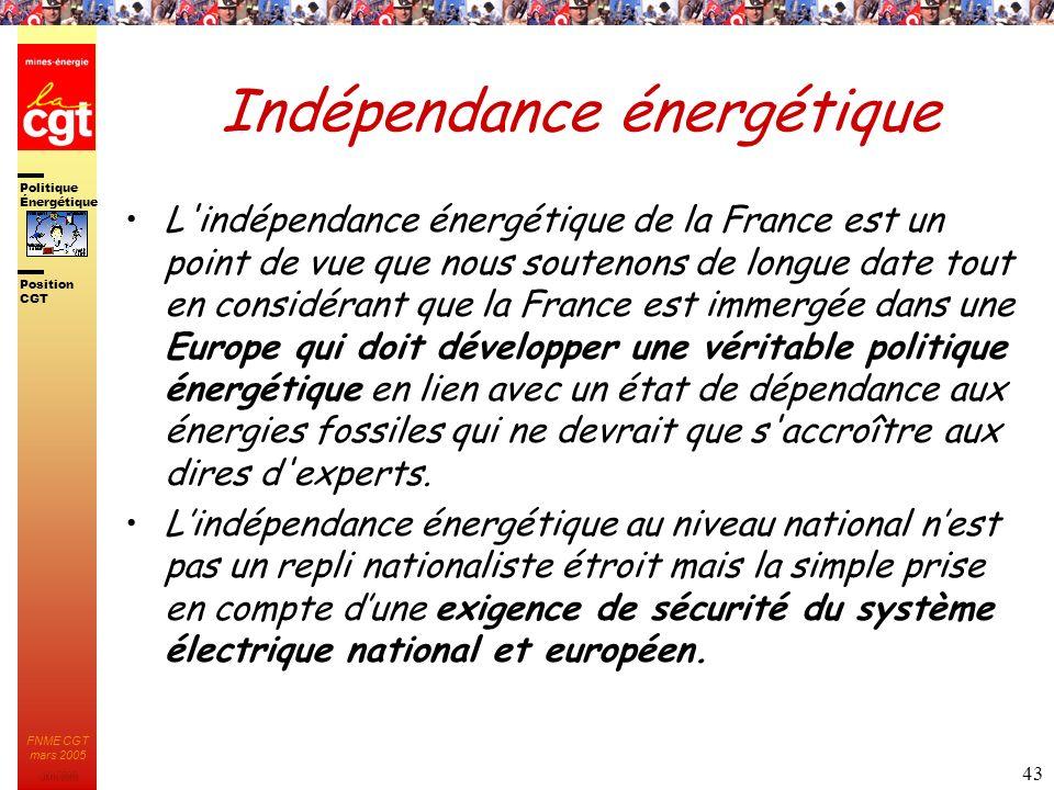 Politique Énergétique JMK 2003 Position CGT FNME CGT mars 2005 43 Indépendance énergétique L'indépendance énergétique de la France est un point de vue