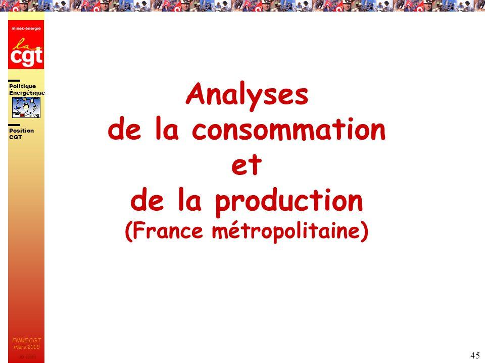 Politique Énergétique JMK 2003 Position CGT FNME CGT mars 2005 45 Analyses de la consommation et de la production (France métropolitaine)