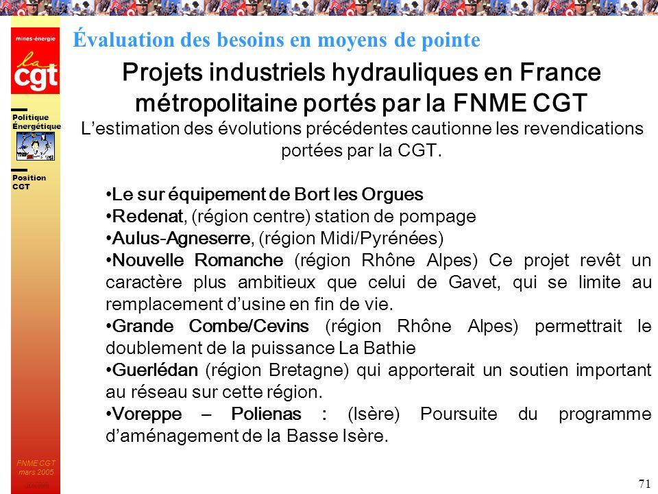 Politique Énergétique JMK 2003 Position CGT FNME CGT mars 2005 71 Projets industriels hydrauliques en France métropolitaine portés par la FNME CGT Les