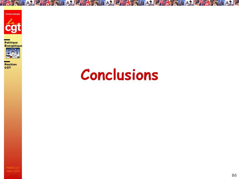 Politique Énergétique JMK 2003 Position CGT FNME CGT mars 2005 86 Conclusions