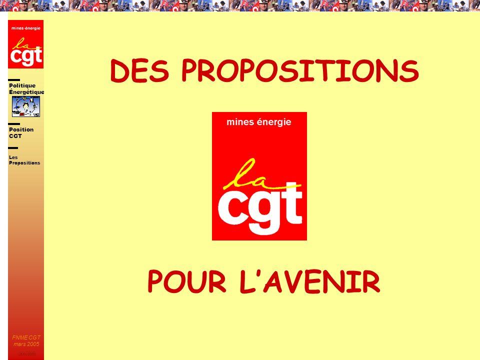 Politique Énergétique JMK 2003 Position CGT FNME CGT mars 2005 89 DES PROPOSITIONS POUR LAVENIR Les Propositions