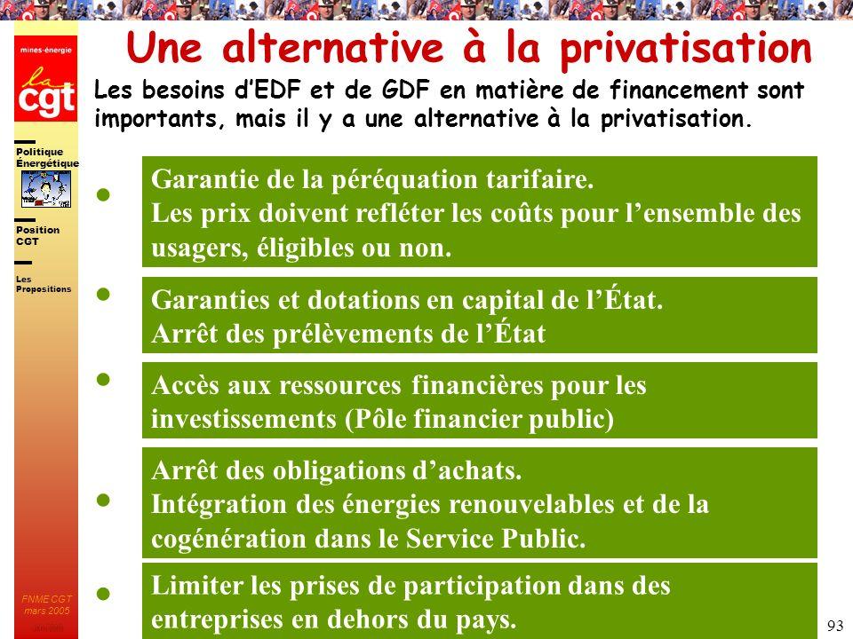 Politique Énergétique JMK 2003 Position CGT FNME CGT mars 2005 93 Une alternative à la privatisation Les besoins dEDF et de GDF en matière de financem