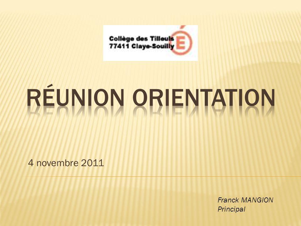 4 novembre 2011 Franck MANGION Principal