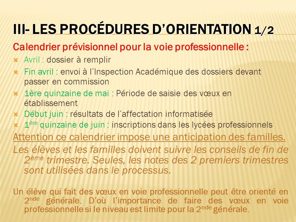 III- LES PROCÉDURES DORIENTATION 1/2 Calendrier prévisionnel pour la voie professionnelle : Avril : dossier à remplir Fin avril : envoi à lInspection