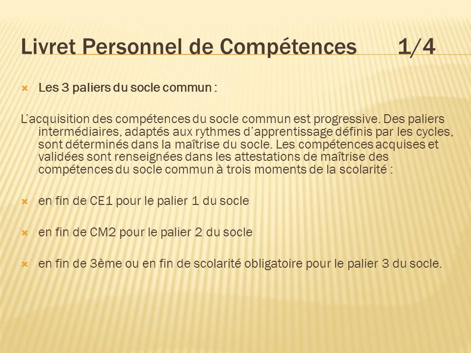 Livret Personnel de Compétences 1/4 Les 3 paliers du socle commun : Lacquisition des compétences du socle commun est progressive. Des paliers interméd