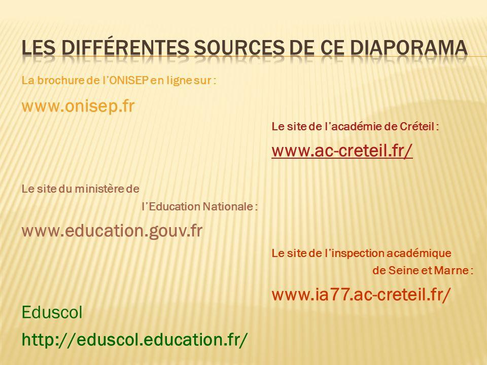 La brochure de lONISEP en ligne sur : www.onisep.fr Le site du ministère de lEducation Nationale : www.education.gouv.fr Eduscol http://eduscol.educat