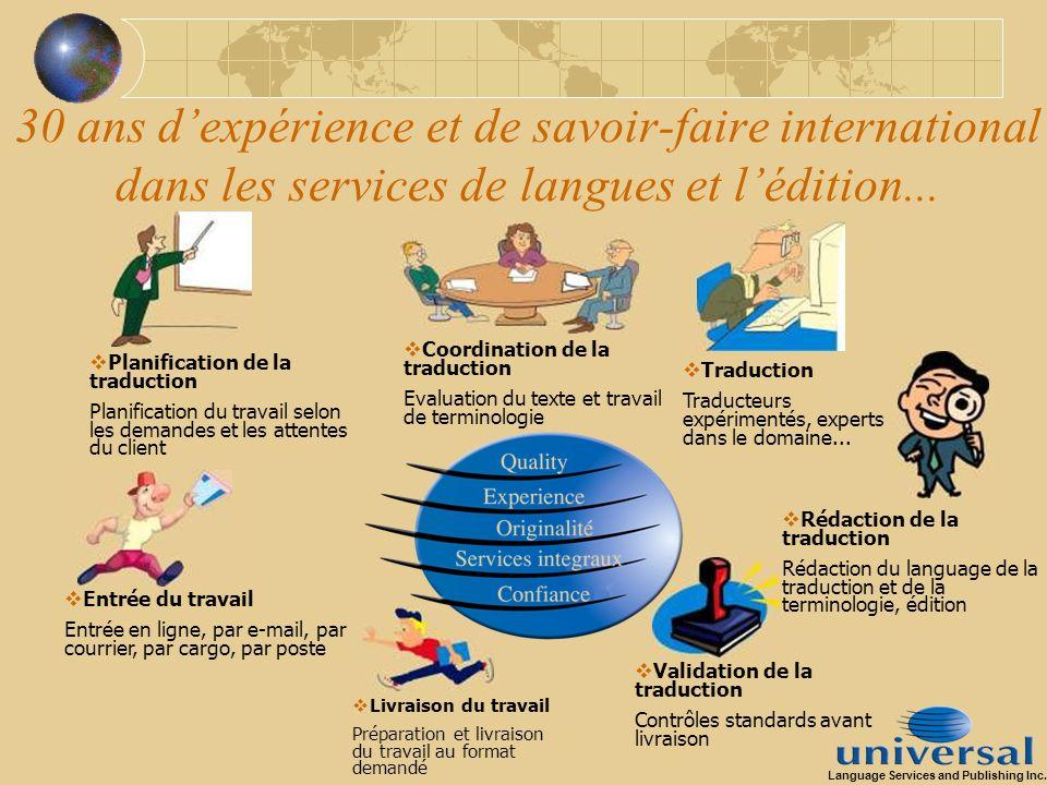 30 ans dexpérience et de savoir-faire international dans les services de langues et lédition... Coordination de la traduction Evaluation du texte et t