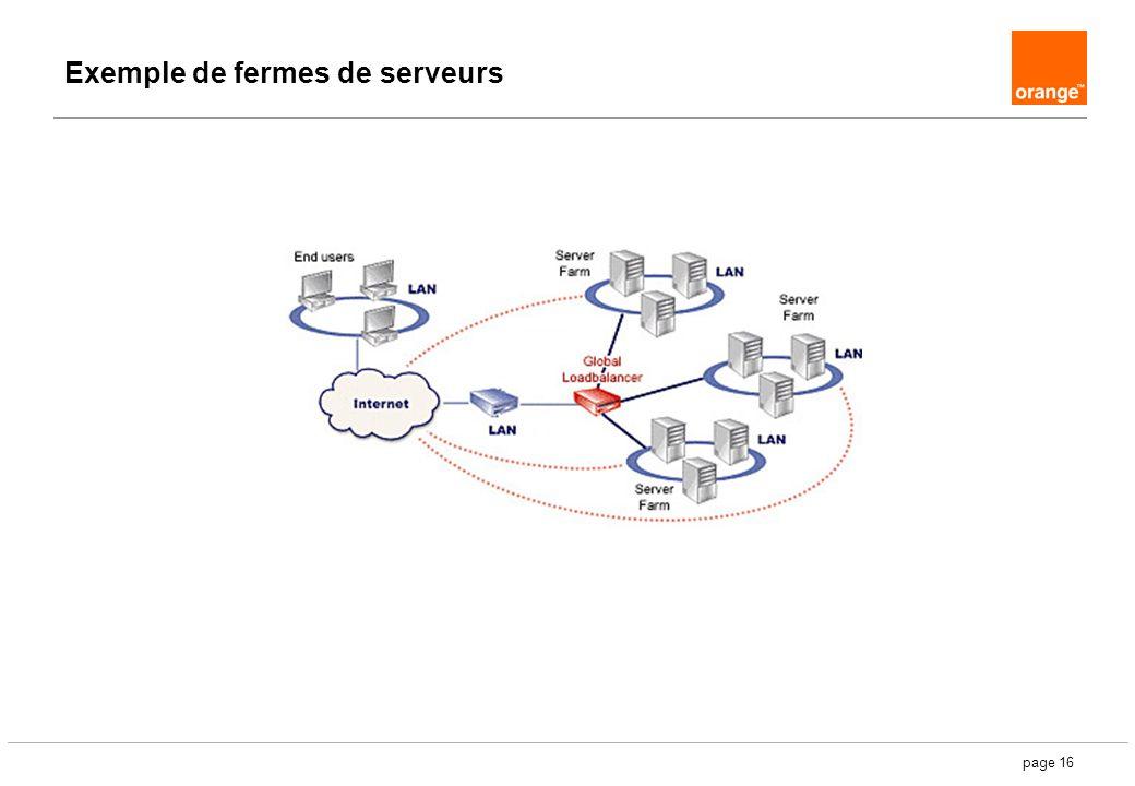 page 16 Exemple de fermes de serveurs