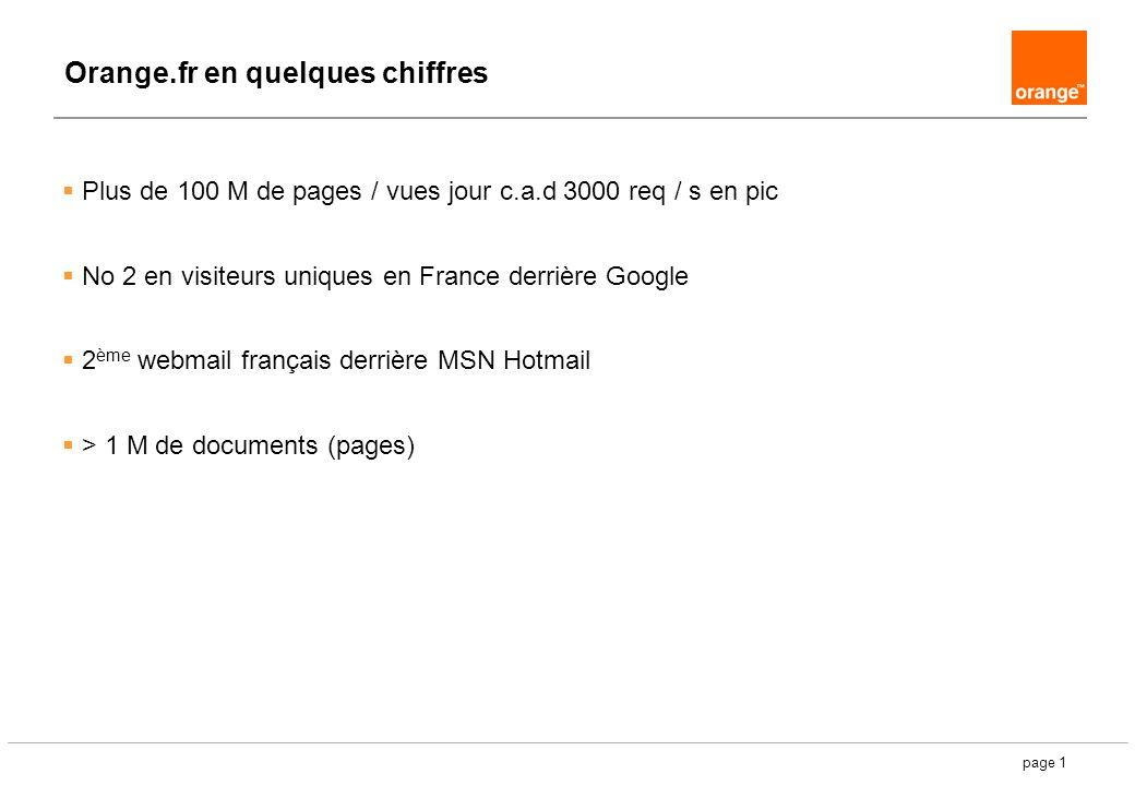 page 1 Orange.fr en quelques chiffres Plus de 100 M de pages / vues jour c.a.d 3000 req / s en pic No 2 en visiteurs uniques en France derrière Google 2 ème webmail français derrière MSN Hotmail > 1 M de documents (pages)