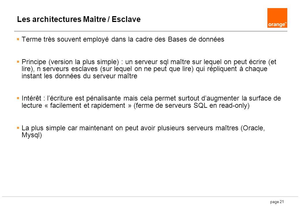 page 21 Les architectures Maître / Esclave Terme très souvent employé dans la cadre des Bases de données Principe (version la plus simple) : un serveu