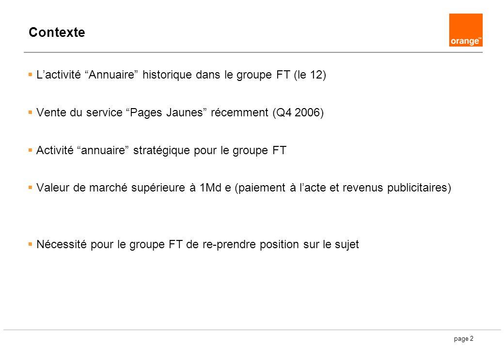 page 2 Contexte Lactivité Annuaire historique dans le groupe FT (le 12) Vente du service Pages Jaunes récemment (Q4 2006) Activité annuaire stratégiqu