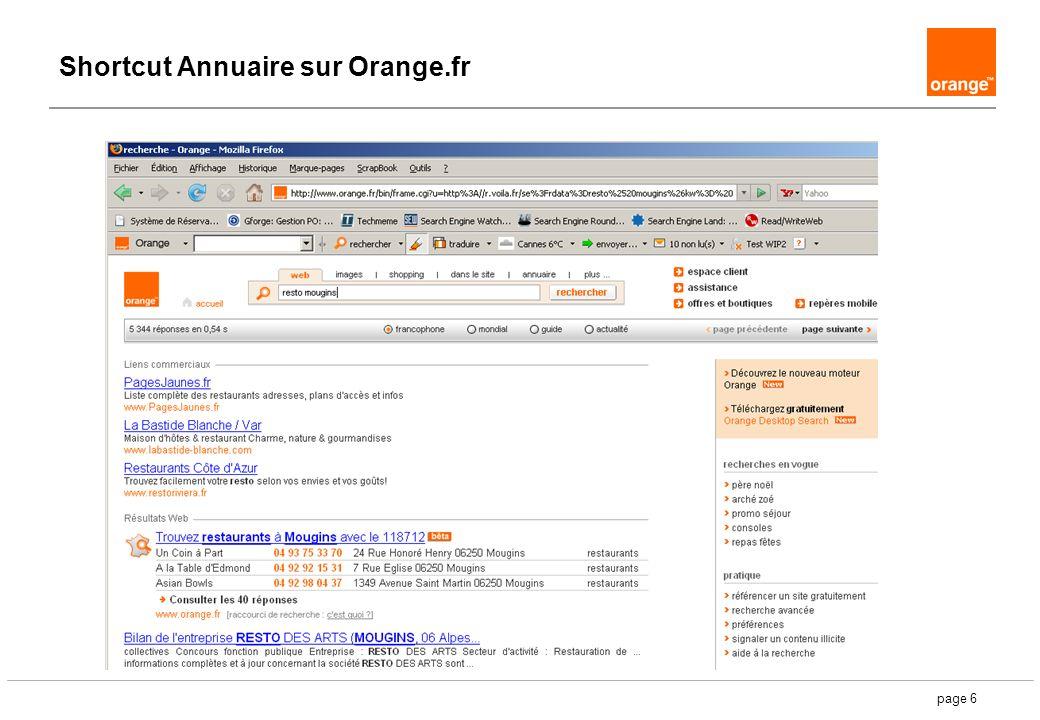 page 6 Shortcut Annuaire sur Orange.fr