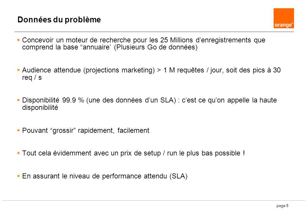 page 8 Données du problème Concevoir un moteur de recherche pour les 25 Millions denregistrements que comprend la base annuaire (Plusieurs Go de données) Audience attendue (projections marketing) > 1 M requêtes / jour, soit des pics à 30 req / s Disponibilité 99.9 % (une des données dun SLA) : cest ce quon appelle la haute disponibilité Pouvant grossir rapidement, facilement Tout cela évidemment avec un prix de setup / run le plus bas possible .