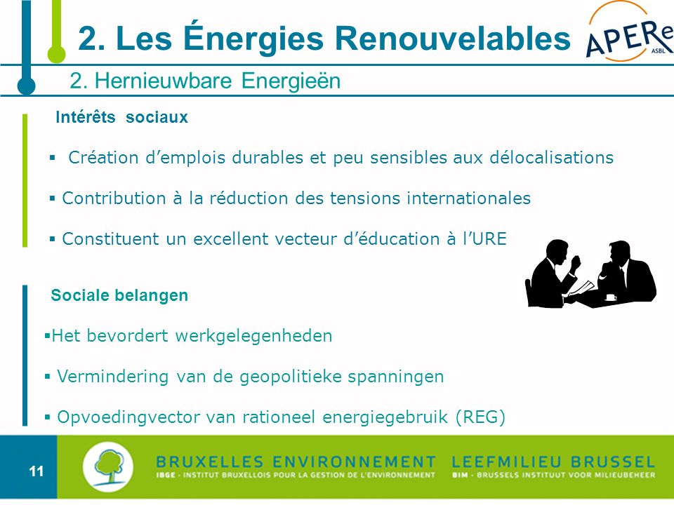 11 2. Hernieuwbare Energieën 2. Les Énergies Renouvelables Intérêts sociaux Création demplois durables et peu sensibles aux délocalisations Contributi