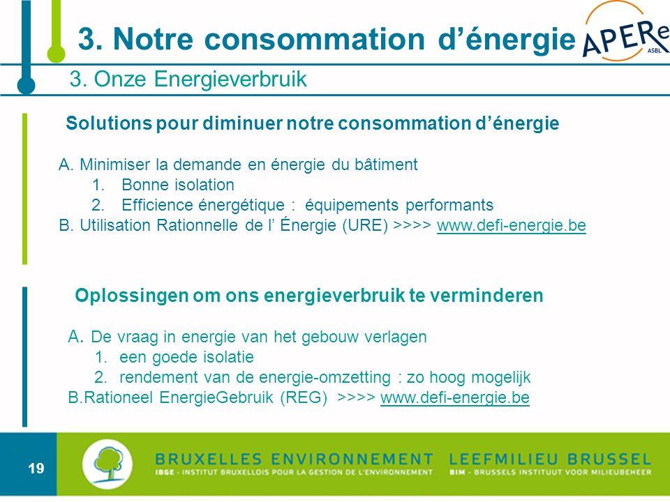 19 Oplossingen om ons energieverbruik te verminderen A. De vraag in energie van het gebouw verlagen 1.een goede isolatie 2.rendement van de energie-om